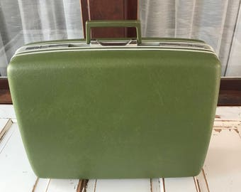 Vintage Sears Courier Samsonite Green Luggage Suitcase 1970's