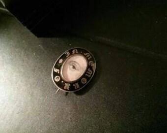 Enamel Gold Miniature Portrait Lovers Eye Brooch Pin