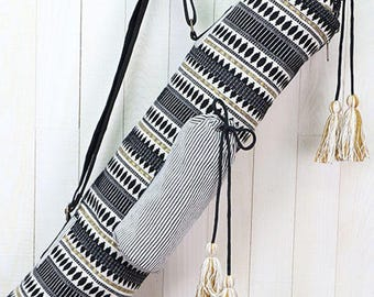 Black & Gold Tribal Stripe Yoga Mat Bag