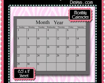 """Monthly Calendar Template Instant Download PSD and TIFF Formats (Temp593) 8.5x11"""" Digital Bottle Cap Collage Sheet Template"""
