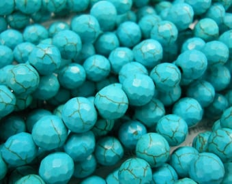 8mm turquoise faceted beads, 15.5 inch