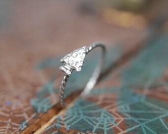 Arrowhead Stacking Ring. Sterling silver arrowhead ring. Aim straight arrow ring.