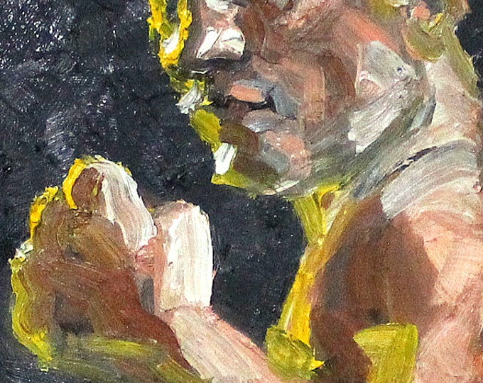 Pugilist, 8x10 inches oil on canvas panel by Kenney Mencher