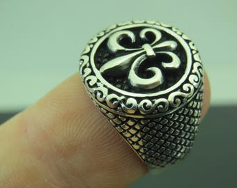 Turkish Handmade Jewelry 925 Sterling Silver Fleur de Lis Design Men's Ring Sz 8
