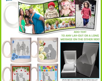 Personalised Photo Mug - Add a name or any text - 100+ Layouts for any occasion, Great Gift Idea, Ceramic Coffee, Tea cup