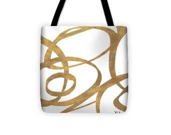 Golden Swirls Square Tote Bag