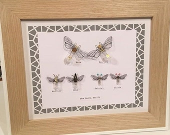 Get your whole family portrait... in bees!!! unique* gift* bees* steampunk* family* personalised* handmade* artwork* home decor*