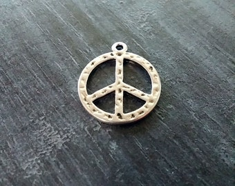 Peace Sign Charms Peace Pendants Antiqued Silver Charms Hammered Charms Silver Peace Sign Textured Charms Anti War Charms 23mm 2pcs