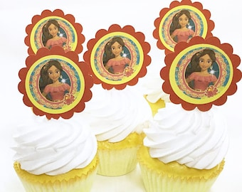 "Elena of Avalor Spanish Princess | CupCake Toppers, cupcake picks, food picks, 4"" Lollipop Stick Set of 12"