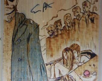 Evan Peters Signed Wood Burning