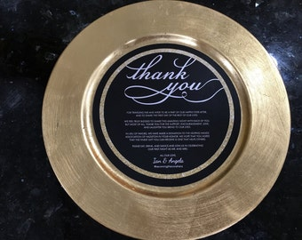 Gold and Black Thank You Round Charger Setting, Faux Gold Glitter Design Menu, Reception Cards