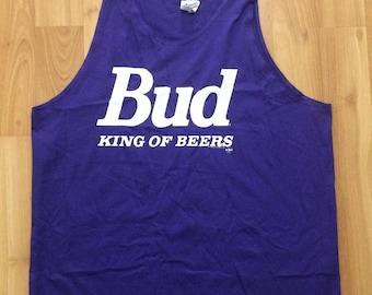 XL 1993 Bud Budweiser tank top t shirt purple white men's Hanes 90's 1990's