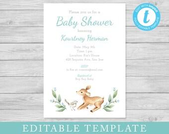EDITABLE Baby Shower Invitation Template, Woodland Animals Invite, Bird and Deer, DIY Templett, Edit Yourself Digital File Instant Download