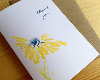 Yellow Daisy Watercolor Thank You Note Cards - Floral Thank You Cards - Abstract Botanical Note Cards - Set of 6