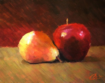 "SALE! Original oil fruit still life food painting, ""Apple and Pear"", 18x24"""