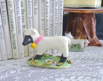 Small Black and White Lamb Sculpture with Blue and Green Flowers, Ceramic Porcelain Clay Sculpture, FREE Shipping Within Continental USA