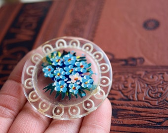Vintage Handpainted Flowers Celluloid Brooch, Etched and Painted Floral Celluloid Pin, Jewelry Gift for Her under 15