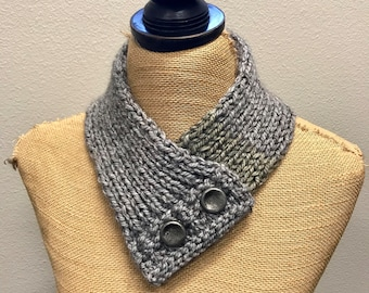 Hand Knitted Buttoned Neck Warmer in Caron Tea Cakes English Breakfast Item# KNW116175 ***FREE SHIPPING***
