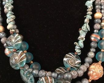 Turquoise jewelry, Necklace multistrand Mix Up Multi Strand Necklace