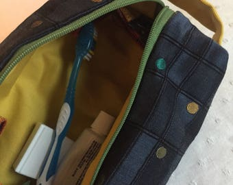 Boxy bag - navy geometric