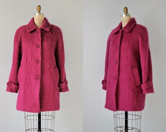 Vintage Mohair Coat / Magenta Pink Button Down Coat