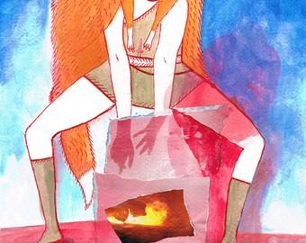 Art Print, Watercolour, Ink, Fox Dreaming, Fine Art Print