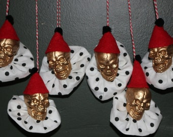 Clown Skeleton Ornaments for Holiday Decorations Set of 6