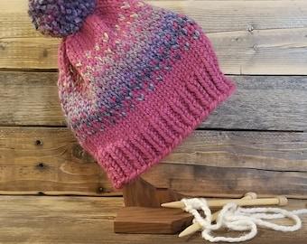 Adult raspberry and multi color fair isle pom hat