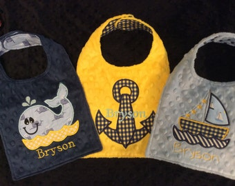 Yellow and Blue Nautical Bib Set/nautical bib/whale bib/sailboat/sailboat bib/anchor/anchor bib/boys bib set/boys baby shower gift