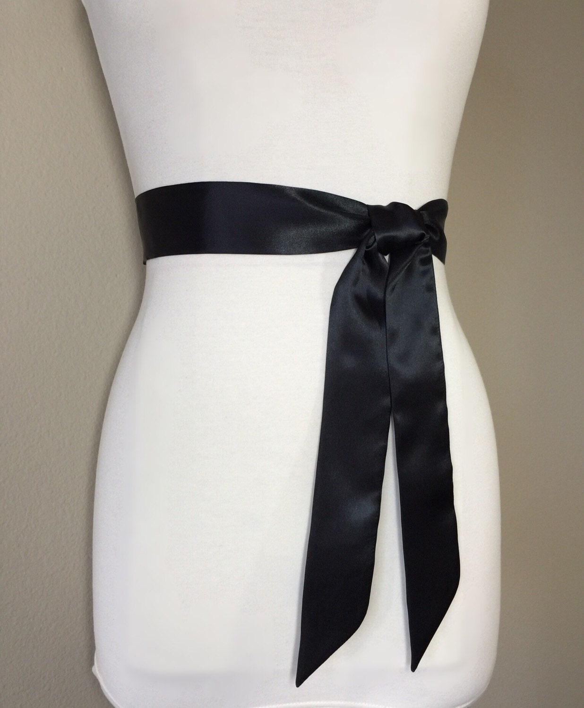 Narrow Black Sash, Black Satin Sash, Black Sash Belt, Bridesmaid ...