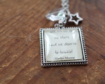 Marilyn Monroe twinkle lyrics quote literary style necklace