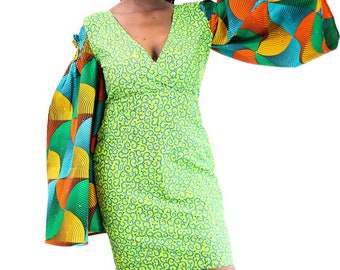 Fully Embellished African combo Ankara Print combo Dress