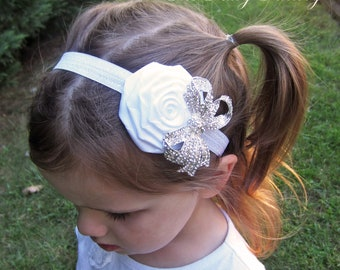 White Flower Headband, Snow White Satin Rose w/ Sparkling Crystal Bow Headband - Baptism, Christening, Wedding, Baby Child Girls Headband