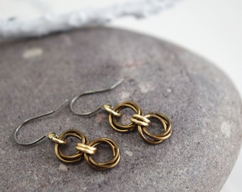 Hypoallergenic Bronze and Gold Chainmaille Earrings, Niobium Earwires