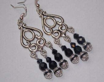Black Crystal Chandelier Earrings