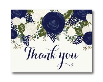 Vintage Wedding Thank You Card, Fall Wedding, Vintage Floral, Floral Wedding, Vintage Wedding, Wedding Thanks - Thank You Card #CL259