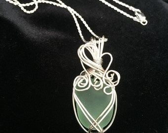Aqua sea glass necklace with wire wrapped pendant and sterling silver chain