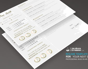 Resume Template Horizontally 1 Page | CV Template + Cover Letter for MS Word | Digital Instant Download | Horizontally CV