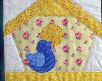 Bird Houses Quilted Wall Hanging by Made Marion