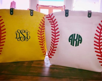 Monogram Baseball Tote Bag - Monogram Softball Tote Bag - Baseball Bag - Softball Bag Monogrammed Tote Bag - Monogram Purse