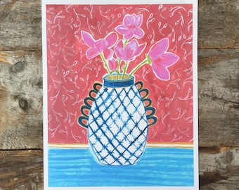 Pink Magnolia Branches in a Vase Archival Print of a Gouache Painting