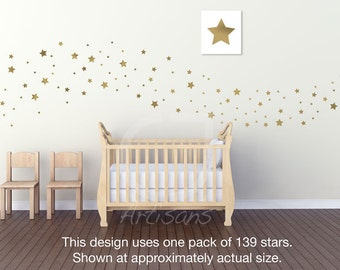 141 Soft-Metallic Fat Star vinyl wall decals in Silver, Gold, or Copper