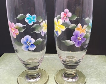 Stemware Champagne Glasses Floral Hand Painted  Set of 2  Red Blue Yellow Purple Aqua and Orange Barware Drinkware Home Decor One of a Kind