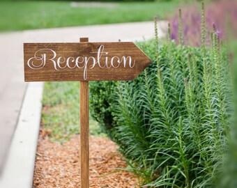 Wood Reception Sign |  Wooden Wedding Sign | Arrow Sign | Directional Sign | Wedding Decor | Wedding Signs  | Wedding Reception - WS-106