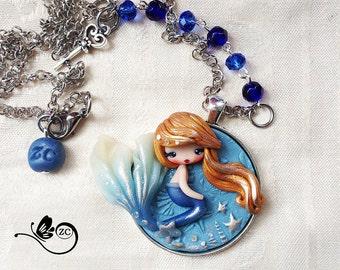 polymer clay necklace / fairy / clay / fimo / zingara creativa /siren