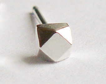 SINGLE Silver Stud - Tiny Sterling Geometric Cube - Faceted Faux Diamond Earring - Cartilage or Second Hole - Nickel Free - Replacement Stud