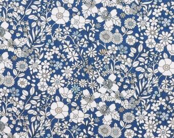 Liberty fabric Tana Lawn June's Meadow G scrap  - 5'' x10''  - Dirty blue