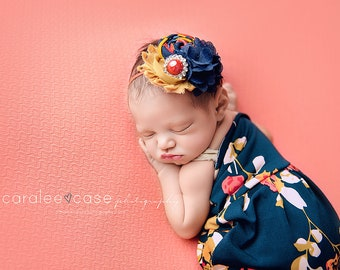 Marigolden Girl- navy, coral, red and mustard rosette chiffon headband bow