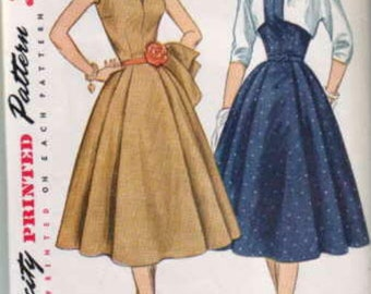 1950s Sleeveless Full Skirt V Neck Dress with Wing Collar and Bolero Simplicity 3846 Size 14 Bust 32 Women's Vintage Sewing Pattern