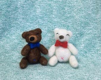 Felted Bow Tie Teddy Bear